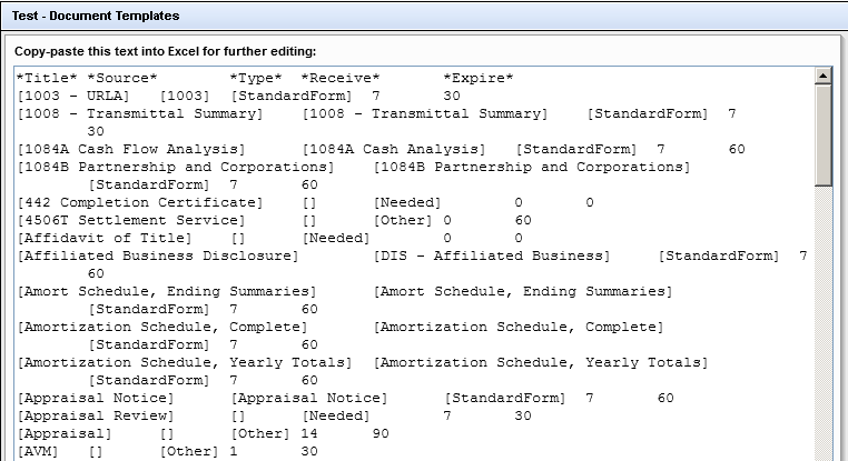 Screenshot of a Form Listing All Document Templates